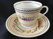 CAREWORN Hand painted Victorian cup & saucer - heathers